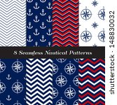 Nautical Navy Blue, Red and White Chevron and Anchors and Compasses Patterns. Patriotic Nautical Backgrounds. Pattern Swatches made with Global Colors. - stock vector