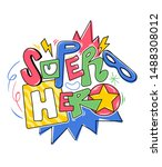 superhero doodle lettering with ... | Shutterstock .eps vector #1488308012