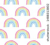 rainbow cute seamless pattern... | Shutterstock .eps vector #1488313802