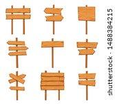 cartoon wooden arrows. blank... | Shutterstock .eps vector #1488384215