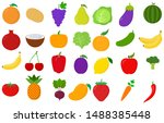 vegetables and fruits set of... | Shutterstock .eps vector #1488385448
