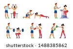 fitness trainer. gymnastics... | Shutterstock .eps vector #1488385862