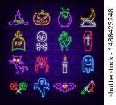 Set Of Neon Halloween Themed...