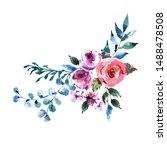 summer watercolor floral...   Shutterstock . vector #1488478508