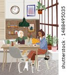 cafe. vector cute illustration... | Shutterstock .eps vector #1488495035