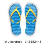 Shiny Blue Flip Flops With...