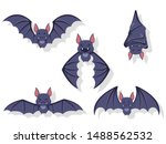collection of flying bats.... | Shutterstock .eps vector #1488562532