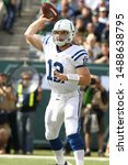 Small photo of East Rutherford, NJ - OCT 14: Indianapolis Colts quarterback Andrew Luck (12) throws the ball against the New York Jets on October 14, 2012 at MetLife Stadium in East Rutherford, New Jersey.