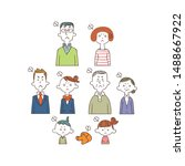 angry expression family  upper... | Shutterstock .eps vector #1488667922
