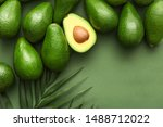 Fresh Avocados And Palm Leaves...
