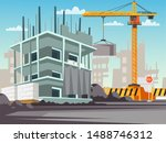 construction site flat vector... | Shutterstock .eps vector #1488746312