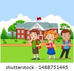 happy school children in front... | Shutterstock .eps vector #1488751445