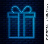 glowing neon line gift box icon ...   Shutterstock .eps vector #1488769172