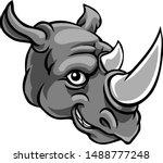 A Rhino Mascot Friendly Cute...