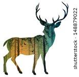 animals,antler,art,autumn,background,birds,black,cartoon,composite,crow,deer,design,element,fog,forest