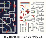 complicated system of pipes set ...   Shutterstock .eps vector #1488790895