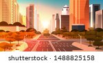 highway asphalt road with... | Shutterstock .eps vector #1488825158