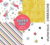 super children cartoon seamless ... | Shutterstock .eps vector #1488836348