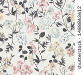 botany floral pattern with color | Shutterstock .eps vector #1488863612