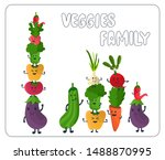 cute vegetables cartoon set... | Shutterstock .eps vector #1488870995