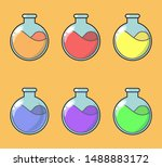 cartoon bottles with poison in...