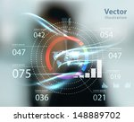 business woman and high tech... | Shutterstock .eps vector #148889702