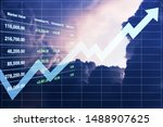 Small photo of Business background image of investment data on stock market index perspective direction to the bright light of the twilight sky imply hope successful startup concept.