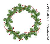 new year and christmas wreath.... | Shutterstock .eps vector #1488910655