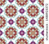 rosette shapes folk seamless...   Shutterstock .eps vector #1488923372