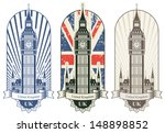 three posters with big ben and... | Shutterstock .eps vector #148898852
