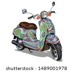 hippie vintage scooter isolated ...   Shutterstock .eps vector #1489001978