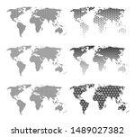set of six vector world maps... | Shutterstock .eps vector #1489027382