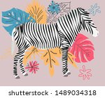 Hand Drawn Colorful Zebra With...
