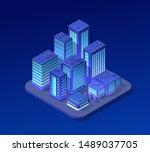 isometric city set of violet... | Shutterstock . vector #1489037705