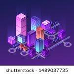 isometric city set of violet... | Shutterstock . vector #1489037735