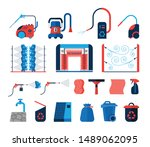 set of car wash tools flat... | Shutterstock .eps vector #1489062095