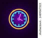 clock neon sign. vector...   Shutterstock .eps vector #1489067315