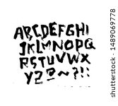 dry brush alphabet font set... | Shutterstock .eps vector #1489069778