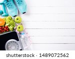 healthy lifestyle  food and... | Shutterstock . vector #1489072562