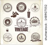set of vintage retro coffee... | Shutterstock .eps vector #148907552