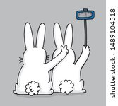 two white bunnies taking a... | Shutterstock .eps vector #1489104518