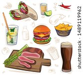 set of different meat dishes ... | Shutterstock .eps vector #1489119962