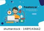 graphic designer flat design... | Shutterstock .eps vector #1489143662