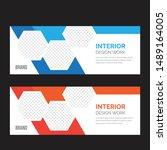 corporate business web banner... | Shutterstock .eps vector #1489164005