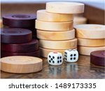 Backgammon. White Cubes And...