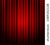 closed red theater curtain.... | Shutterstock .eps vector #1489202138