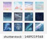 collection of watercolor sky...   Shutterstock . vector #1489219568