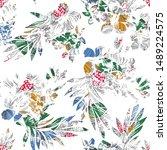 seamless abstract flower... | Shutterstock .eps vector #1489224575