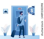 man tourist with suitcase and... | Shutterstock .eps vector #1489230398