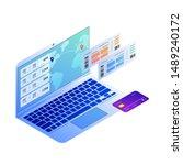 isometric vector concept of... | Shutterstock .eps vector #1489240172